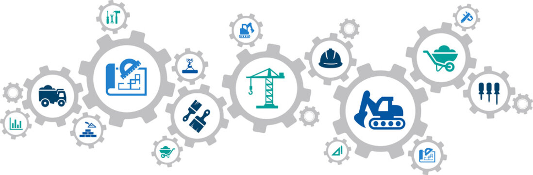 Construction vector illustration. Concept with connected icons related to real estate, construction industry, architecture, development project management or building renovation and maintenance.