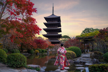 Young Japanese girl traveller in traditional kimino dress standing in Toji temple with wooden pagoda and red maple leaf in autumn season in Kyoto, Japan. Japan tourism visit tourist attractions