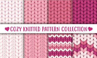 Printed roller blinds Pattern Baby pink knitted cozy pattern collection