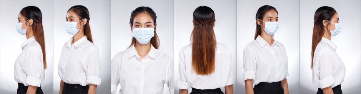 Asian Woman portrait rear side back view turn 360 protective face mask