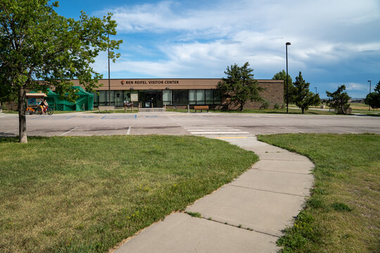 Scenic, South Dakota - June 21, 2020: Building for the Ben Reifel Visitor Center in Badlands National Park in summer