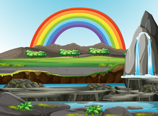 Printed roller blinds Kids Nature forest view with rainbow in the sky scene