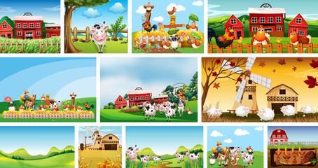 Foto auf Acrylglas Kinder Set of different farm scenes with animal farm cartoon style