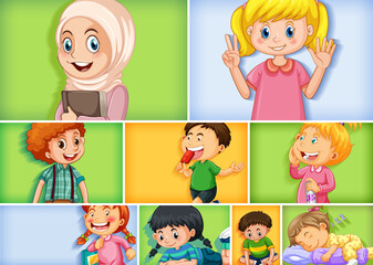 Foto auf Acrylglas Kinder Set of different kid characters on different color background