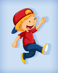 Photo sur Plexiglas Jeunes enfants Cute boy wearing red cap with stranglehold in walking position cartoon character isolated on blue background