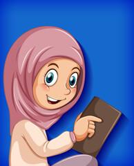 Foto auf Acrylglas Kinder Muslim girl reading the book