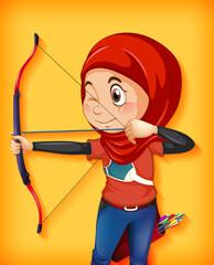 Foto auf Acrylglas Kinder Female muslim archer character