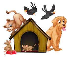 Photo sur Plexiglas Jeunes enfants Group of cute animals cartoon character isolated