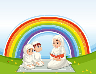 Arab muslim family in traditional clothing with rainbow background