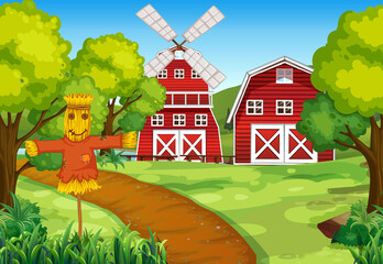 Photo sur Plexiglas Jeunes enfants Farm scene in nature with barn and windmill and scarecrow