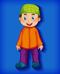 Foto auf Acrylglas Kinder Male muslim cartoon character on colour gradient background