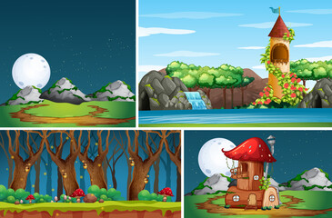 Four different scene of nature fantasy world with mushroom house