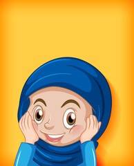 Foto auf Acrylglas Kinder Female muslim cartoon on character colour gradient background