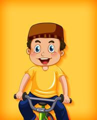 Foto auf Acrylglas Kinder Happy muslim boy riding bicycle