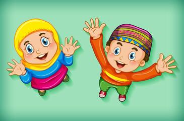 Foto auf Acrylglas Kinder Happy muslim children from aerial view