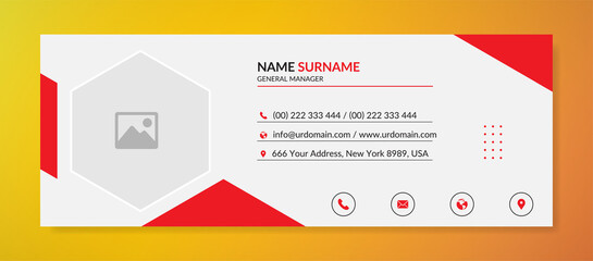 Modern corporate email signature with an author photo place