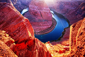 Foto op Canvas Rood paars Beautiful view on Horseshoe place in Arizona. Panoramic Horeseshoe Bend. Glen Canyon on Arizona. Landscape at Horseshoe bend in Grand Canyon National Park.