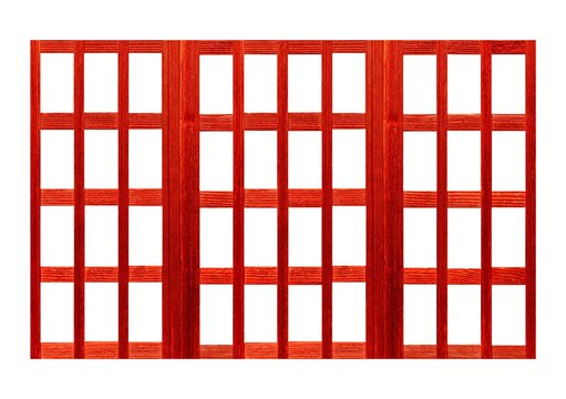 Red Shoji , Traditional Japanese door,window or room divider consisting isolated on white background