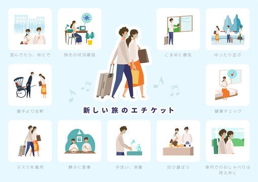 【新しい旅のエチケット】GoToトラベルキャンペーンに伴う、新しい旅行様式を伝えるイラストセット