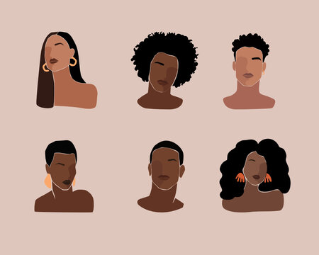 Black young beautiful women and man portraits with different hairstyle.  Black lives matter