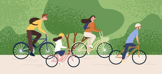 Photo sur Toile Les Textures Active family riding on bike at forest park vector flat illustration. Mother, father, daughter and son cycling together. Parents and kids enjoying healthy lifestyle. Recreational outdoor activity