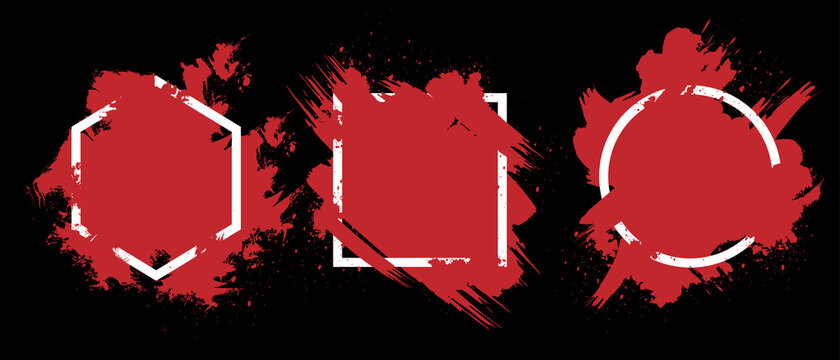 Red grunge with frame vector, Collection of Grunge background, Spray Paint Elements, Black splashes set, Dirty artistic design elements, ink brush strokes, Vector illustration.