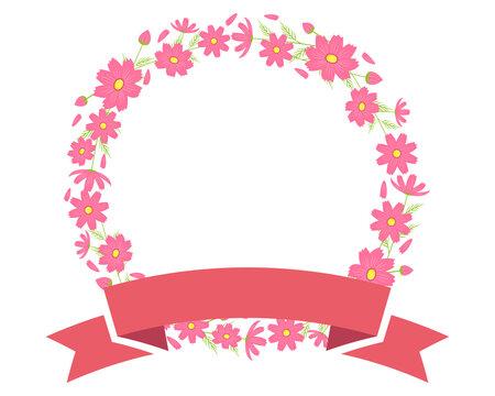 カラフルなコスモスの花のフレーム 秋桜のメッセージカード