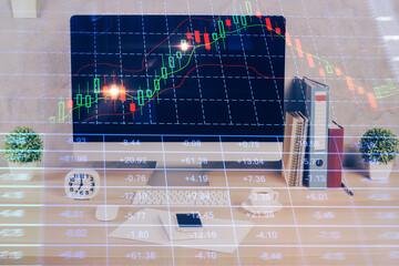 Poster Asia Country Forex graph hologram on table with computer background. Double exposure. Concept of financial markets.