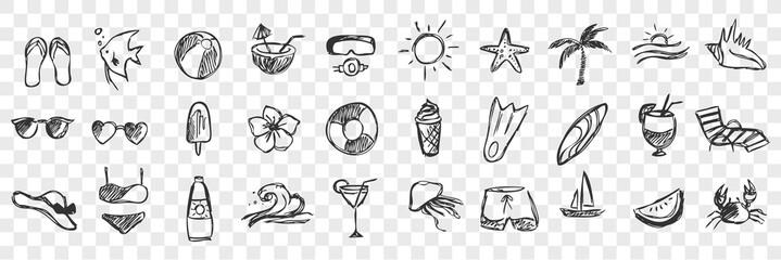 Hand drawn summer symbols doodle set
