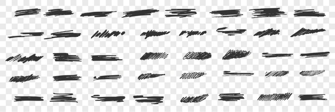 Brush hand drawn scribbles doodle set