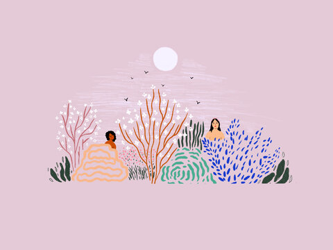Ladies in the nature, nature lovers, summer time illustration, holiday art