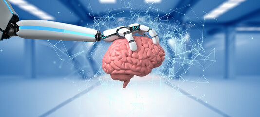 Humanoid Robot Hand Human Brain