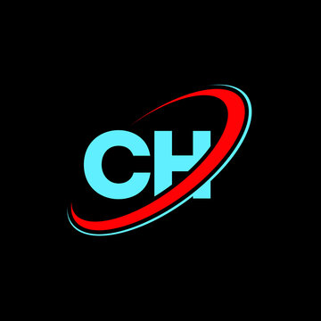 CH C H letter logo design. Initial letter CH linked circle uppercase monogram logo red and blue. CH logo, C H design. ch, c h