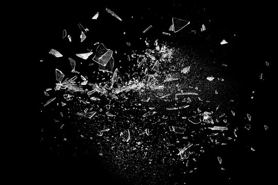 Broken glass on the black bachground.  Isolated realistic cracked glass effect