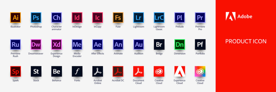 MOSCOW, RUSSIA - JULY 17, 2020: Set icons Adobe Products: Illustrator, Photoshop, InDesign, Premiere Pro, After Effects, Acrobat DC, Lightroom, Dreamweaver...Vector illustration EPS10