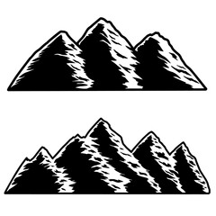 Set of illustration of mountains in engraving style. Design element for logo, label, emblem, sign.