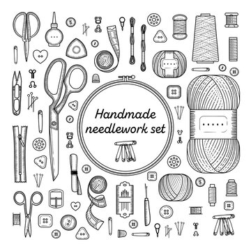 Set of sewing items monochrome color. Handmade, sewing, embroidery, needlework supplies.
