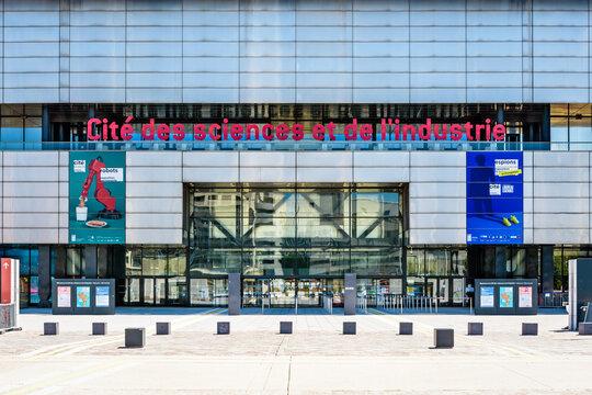Paris, France - June 22, 2020: Front view of the entrance and sign of the Cite des Sciences et de l'Industrie, the largest science museum in Europe, located in the Parc de la Villette.