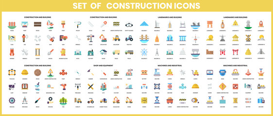 Vector construction icon on white background in flat design elements icons set.