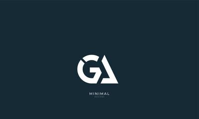 Fototapeta Alphabet letter icon logo GA or AG obraz