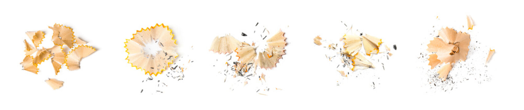 Pencil shavings on white background, top view. Banner design