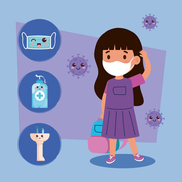 cute girl student wearing medical mask to prevent coronavirus covid 19 with cute icons kawaii vector illustration design