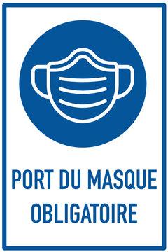 Port du masque obligatoire bleu