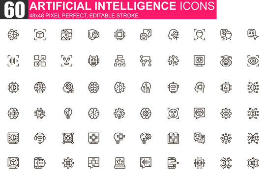 Artificial intelligence thin line icon set. Machine learning outline pictograms for website and mobile app GUI. Smart technology simple UI, UX vector icons. 48x48 pixel perfect linear pictogram pack.