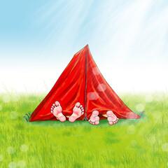 Zelt rot Füße barfuß, Freizeit Ferien Camping Zelten Urlaub Outdoor Kinder Mann Frau Paar Übernachtung Wiese Camping ausruhen genießen alternativ Zeltplatz Camp morgens Sonnenaufgang erste Liebe