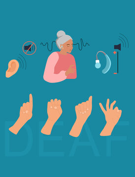 International Deaf day flat vector illustration.Old deaf woman with hearing aid.Sign language communication.Hearing disability concept.Ear care.Equal rights.World Hearing day.IDSL. Sound off/on