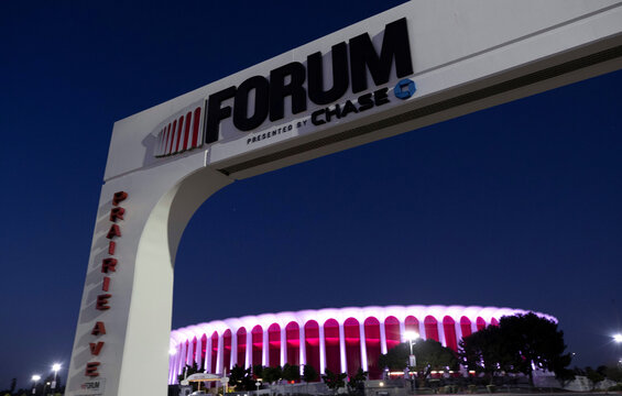 The Forum is pictured at dusk during the outbreak of the coronavirus disease (COVID-19), in Inglewood