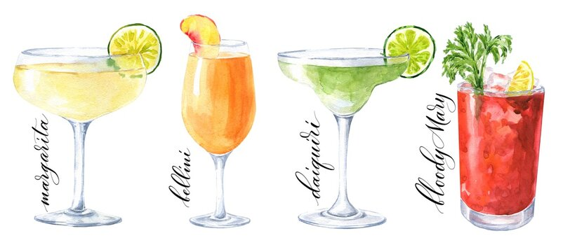 Hand drawn watercolor cocktails isolated on white background. Margarita, bellini, daiquiri and bloody Mary  drink illustration.