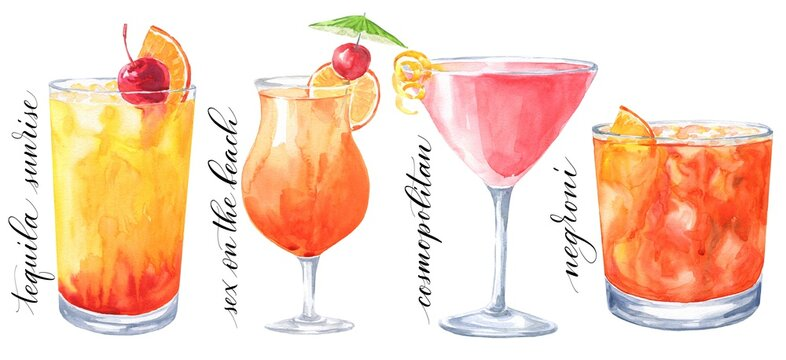 Hand drawn watercolor cocktails isolated on white background. Tequila sunrise, sex on the beach, cosmopolitan and Negroni illustration.