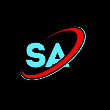 SA S A letter logo design. Initial letter SA linked circle uppercase monogram logo red and blue. SA logo, S A design. sa, s a